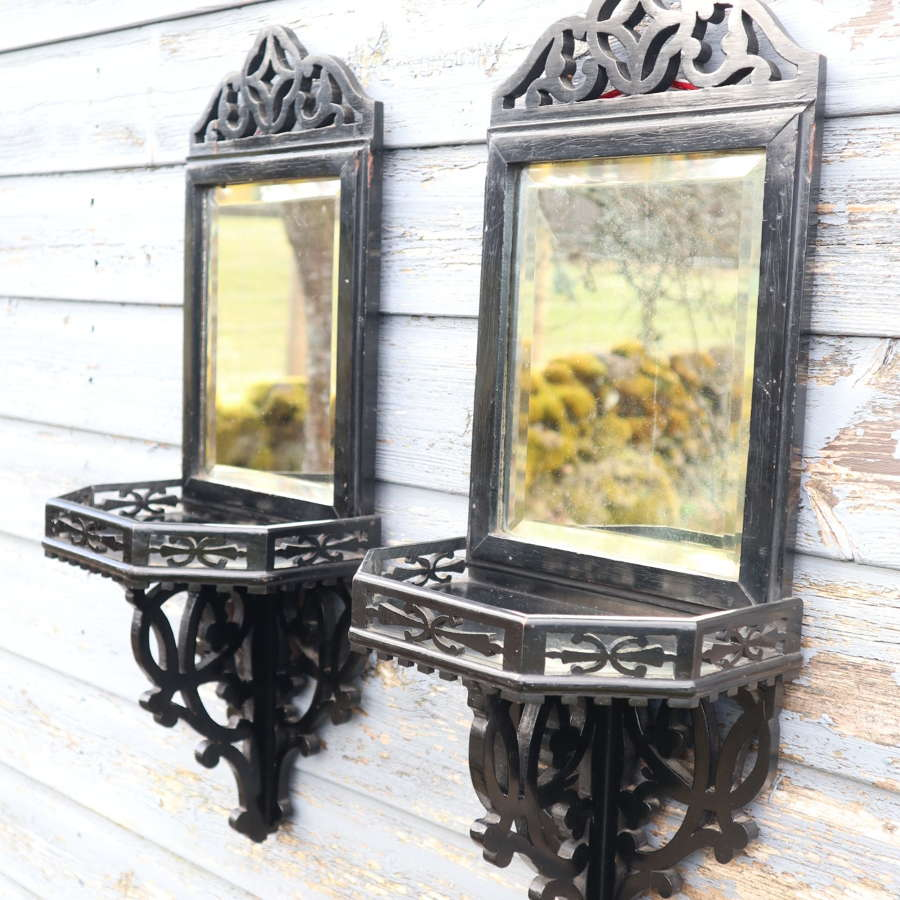 Aesthetic Movement, pair ebonised wall mirrors, shelf bracket c.1880.