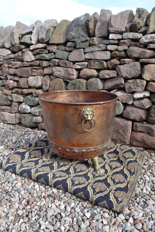 19th Century copper cauldron log bin, brass Lion handles c.1860.