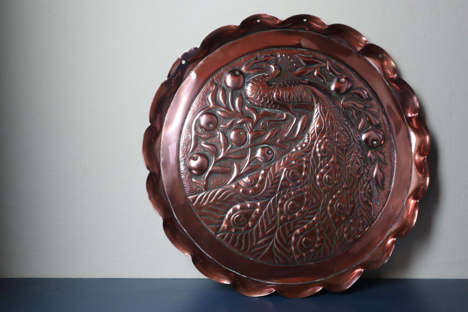 Arts & Crafts, Irish Peacock copper charger, John Williams c.1895