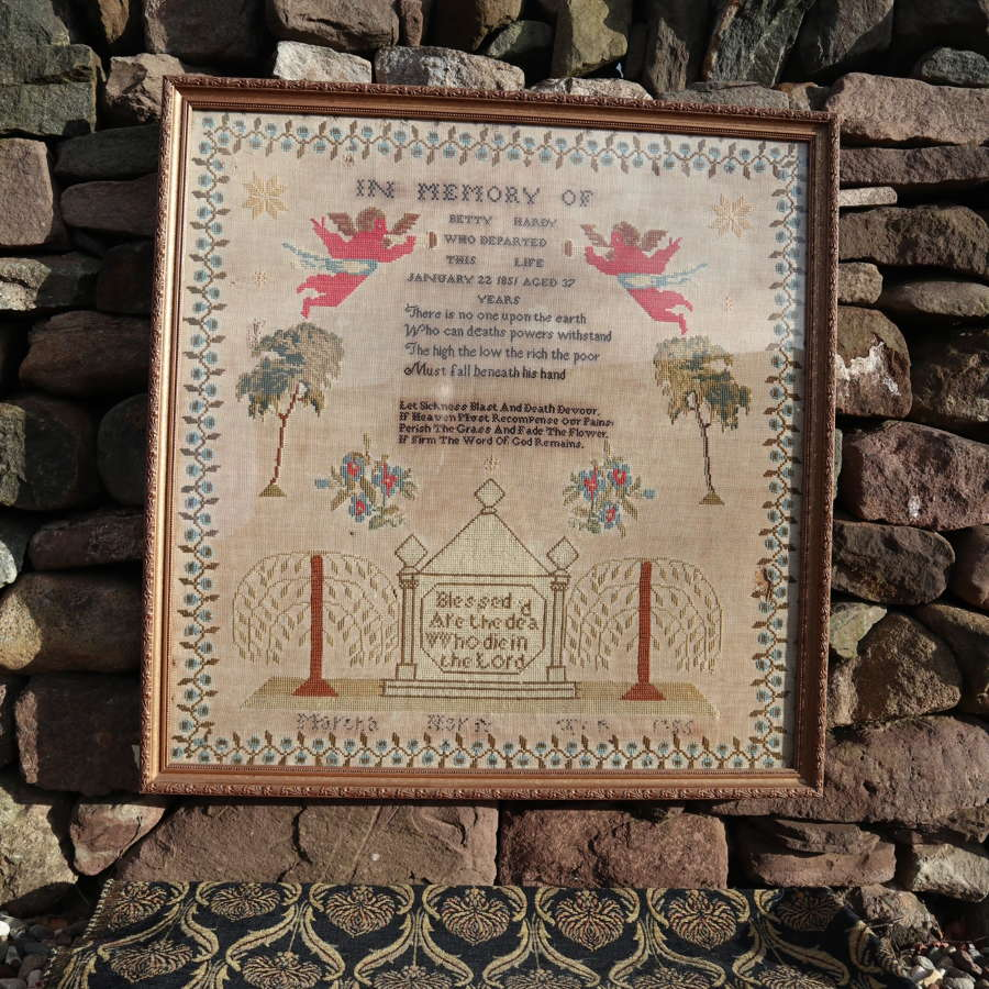 Victorian Large Decorative Sampler Needlework Commemorative 1855.