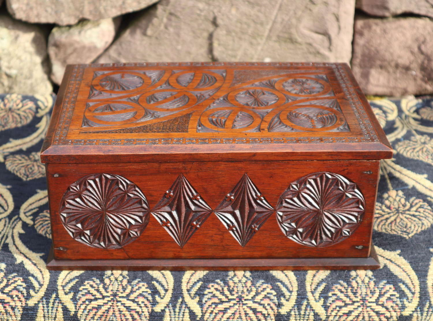Arts & Crafts / Gothic geometric carved walnut writing box c.1880.