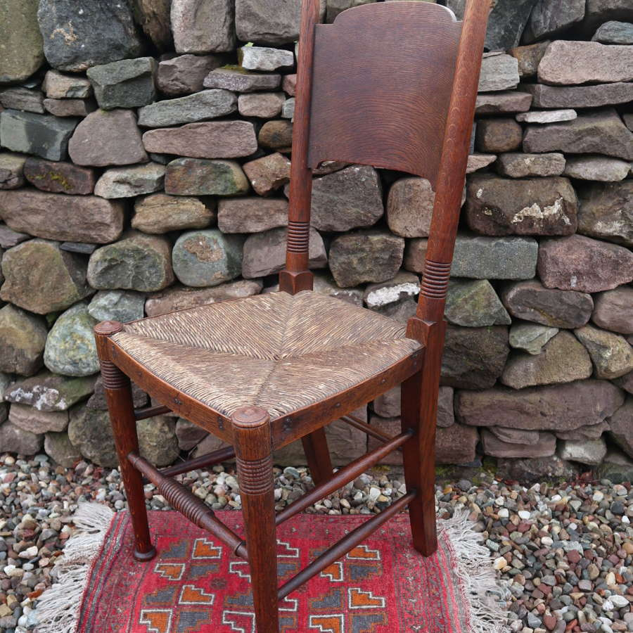 Arts & Crafts, oak & rush seat chair, William Birch c.1895.
