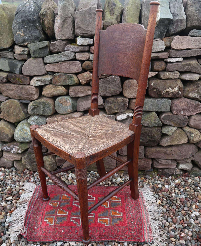 Arts & Crafts, oak & rush seat chair, William Birch c.1895.