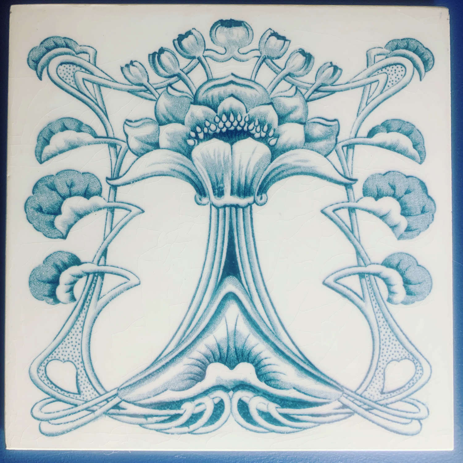 Art Nouveau English Marsden Tile Co. Floral naturalistic tile c.1900.