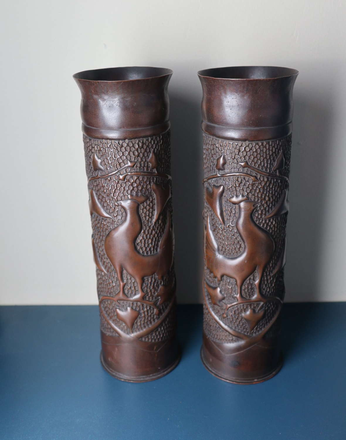 Arts & Crafts style pair large French Artillery shell cases 1914-18.