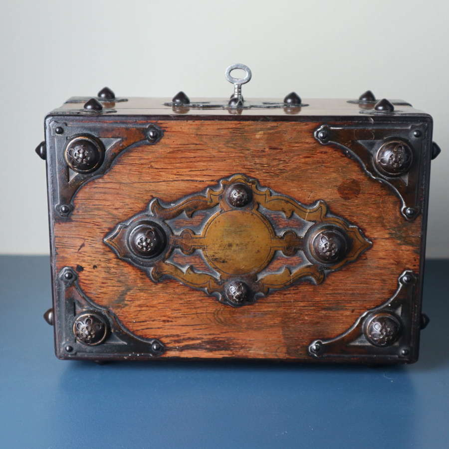 Victorian Gothic revival brass studded & bound jewellery box c.1870.