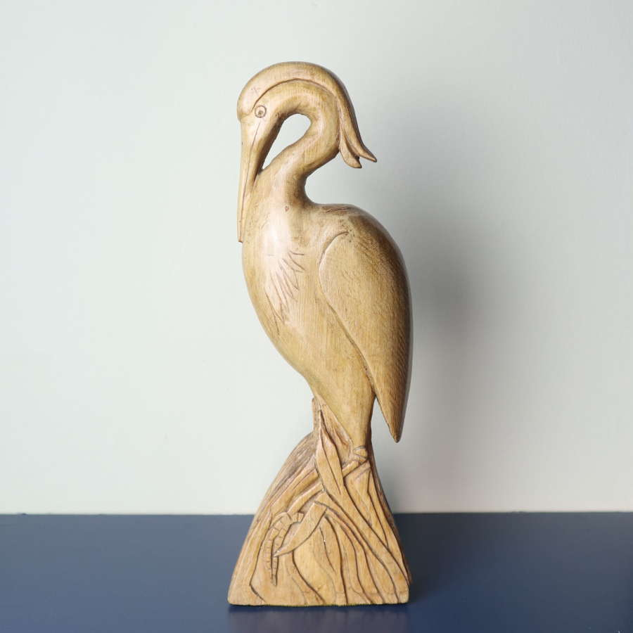 Art Deco / Folk Art Grey Heron Sculpture  c.1930.