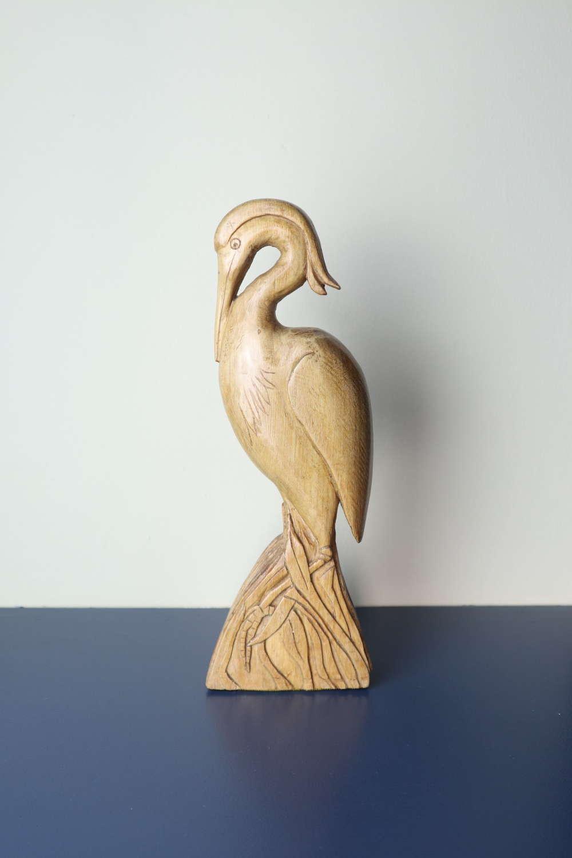 Art Deco / Folk Art Grey Heron Sculpture  c.1930.