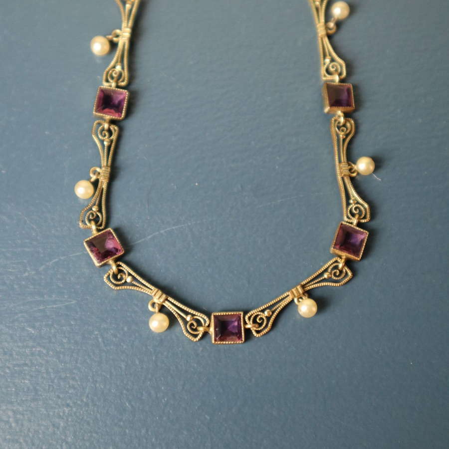 Art Deco Gold, amethyst glass & pearl necklace c.1925.