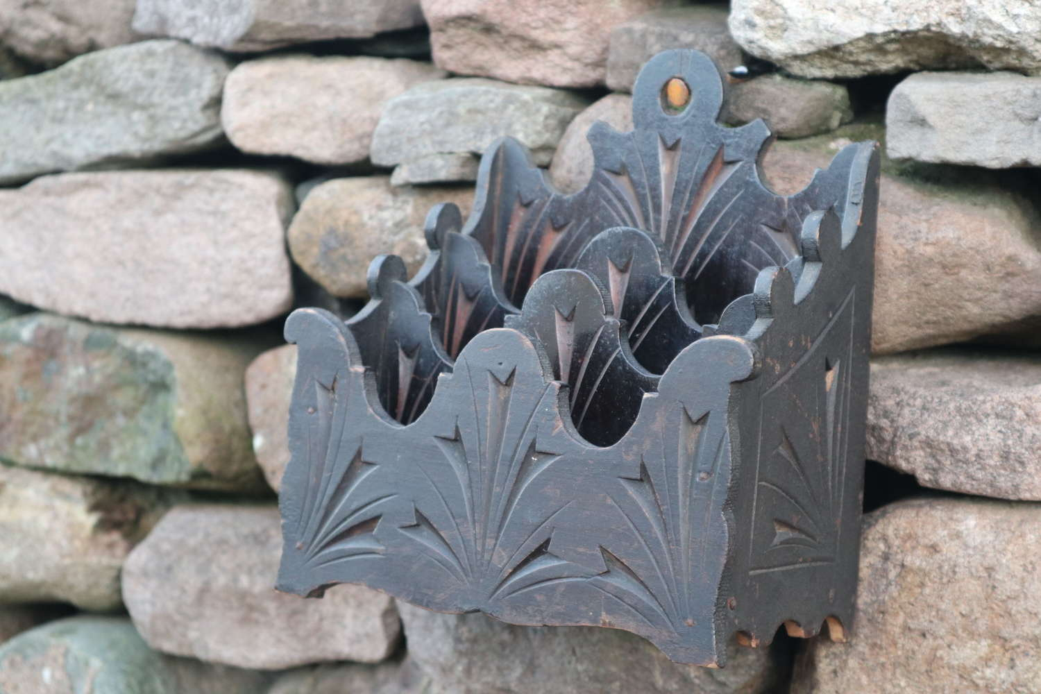 Victorian Gothic stationery / letter rack wall hanging c.1860.