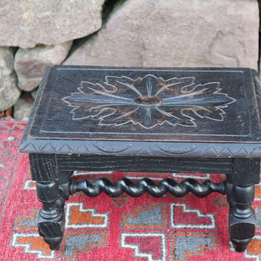 Victorian carved ebonised & barley twist wooden footstool c.1860.