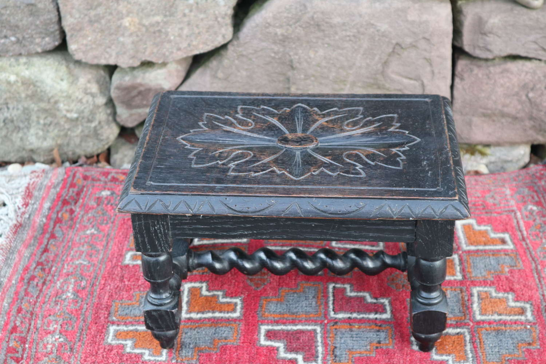 Victorian carved ebonised & barley twist wooden footstool c.1860.