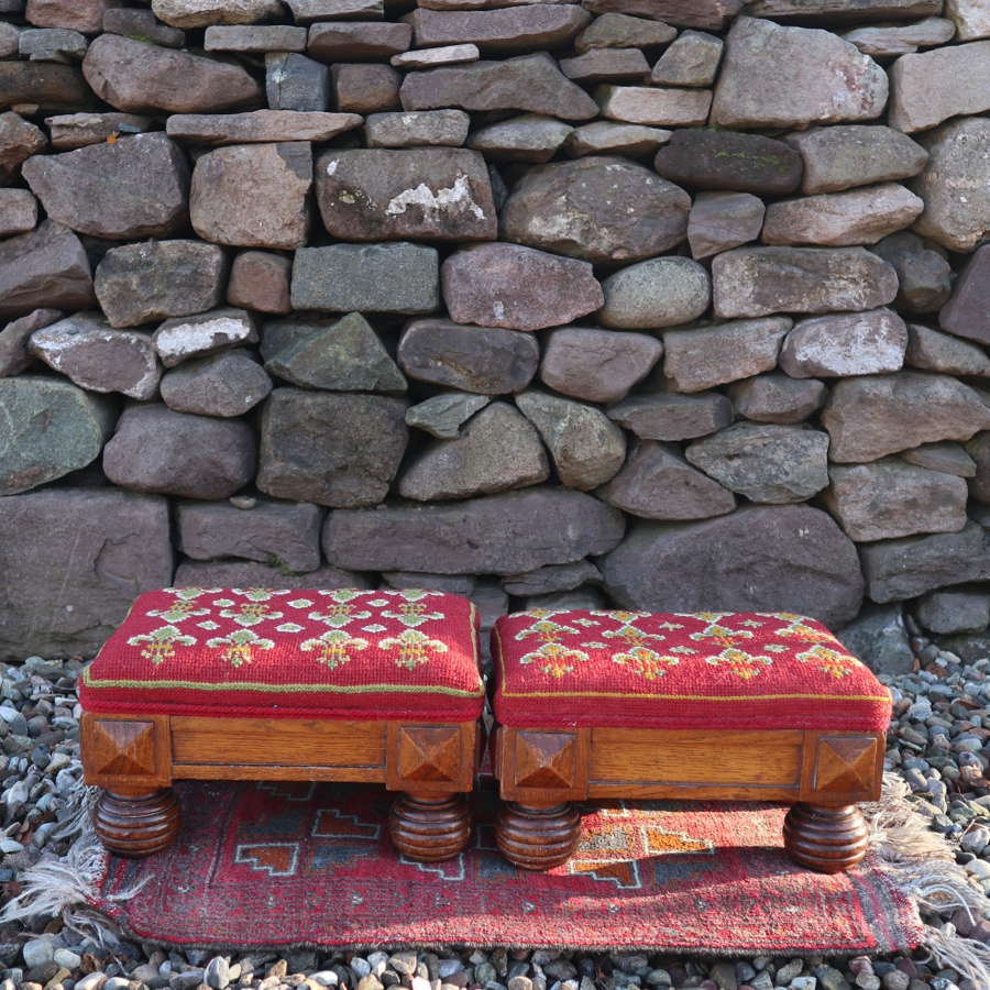 Georgian Gothic pair of ecclesiastical prayer stools c.1825.