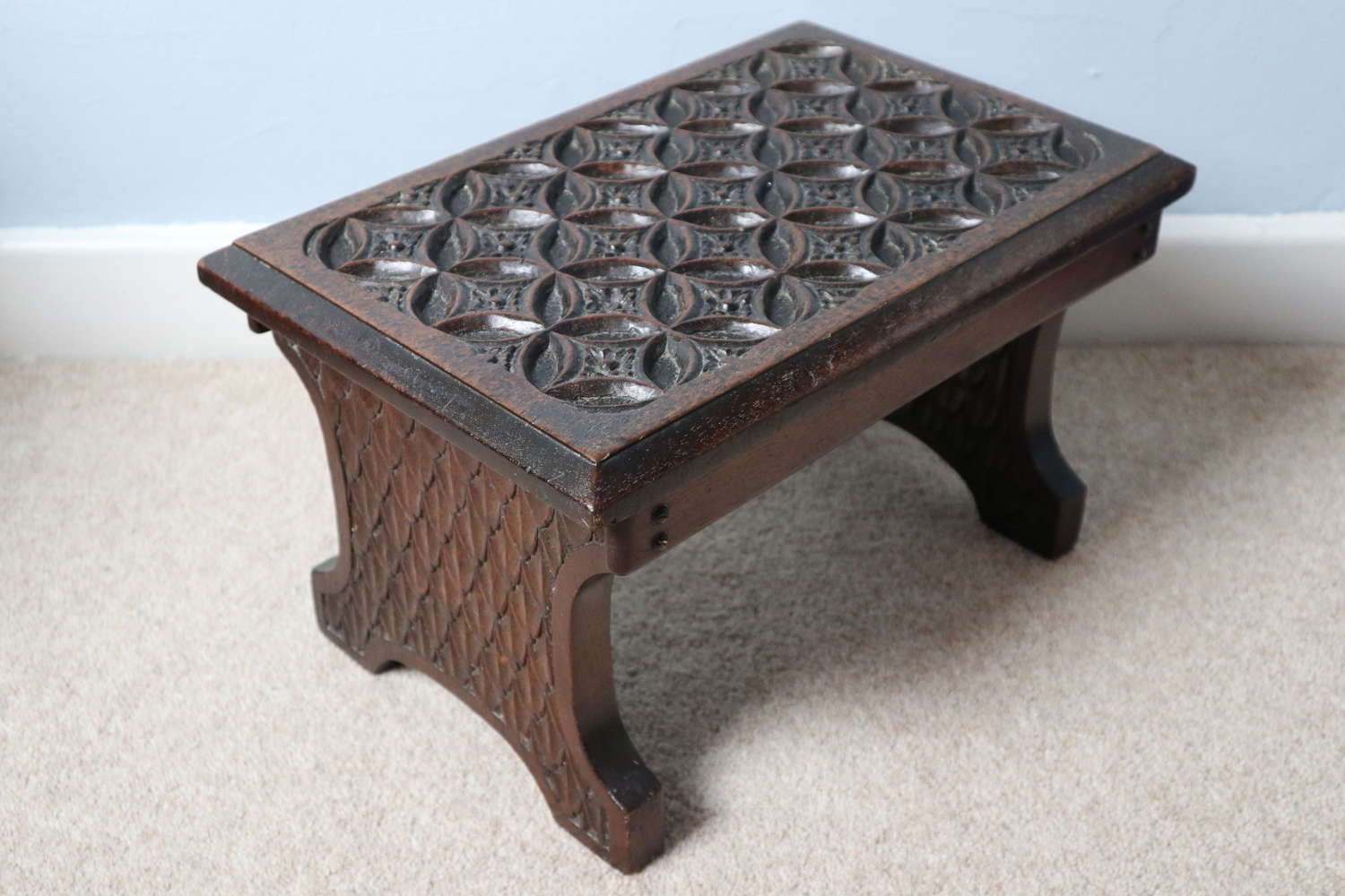 Victorian Gothic revival carved mahogany footstool c.1860
