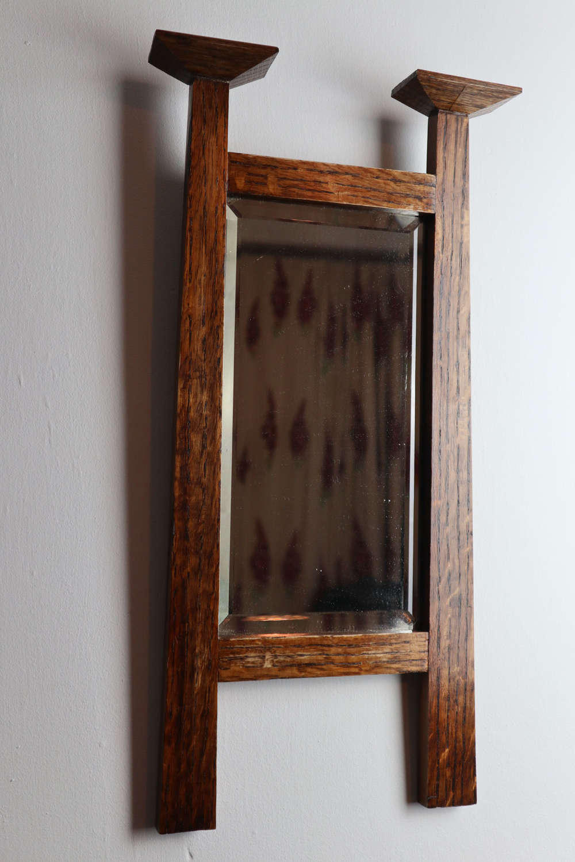 Arts & Crafts Scottish oak wall mirror (Manner of C.F.A.Voysey) c.1902