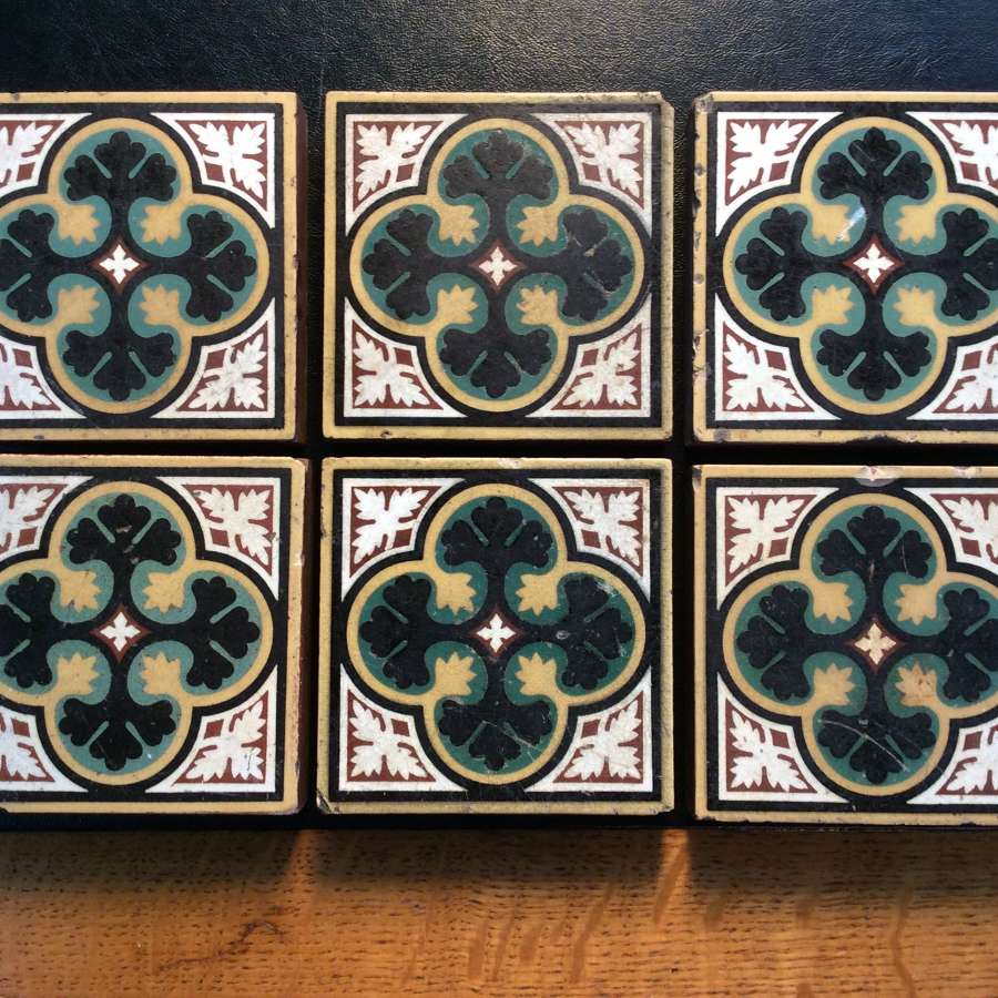 Victorian English geometric motif encaustic floor tiles c.1852-1900.