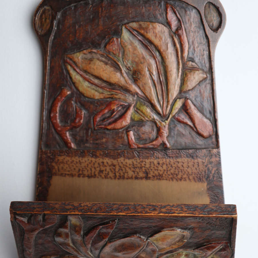 Arts & Crafts / Art Nouveau floral aesthetic letter rack, 1906.