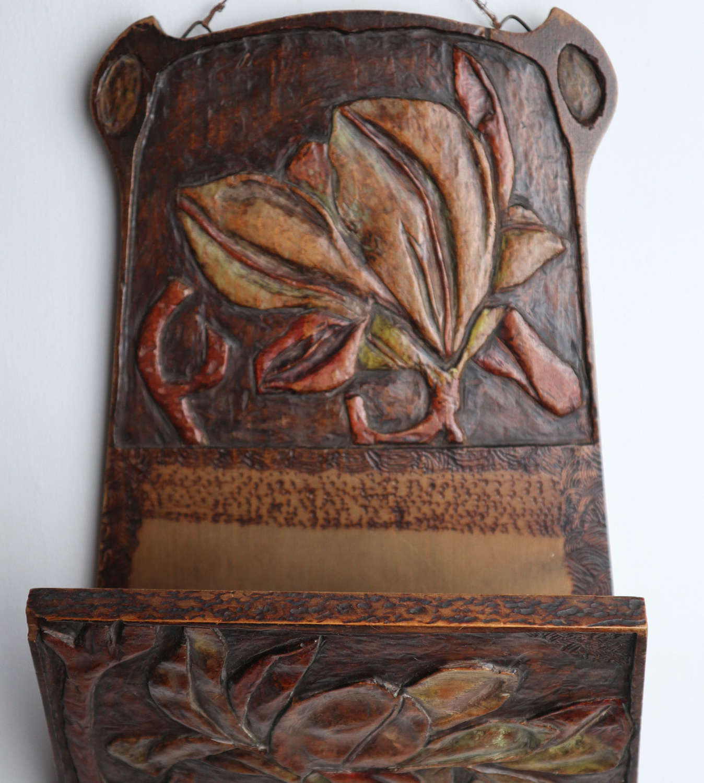Arts & Crafts / Art Nouveau floral aesthetic letter rack, 1906.