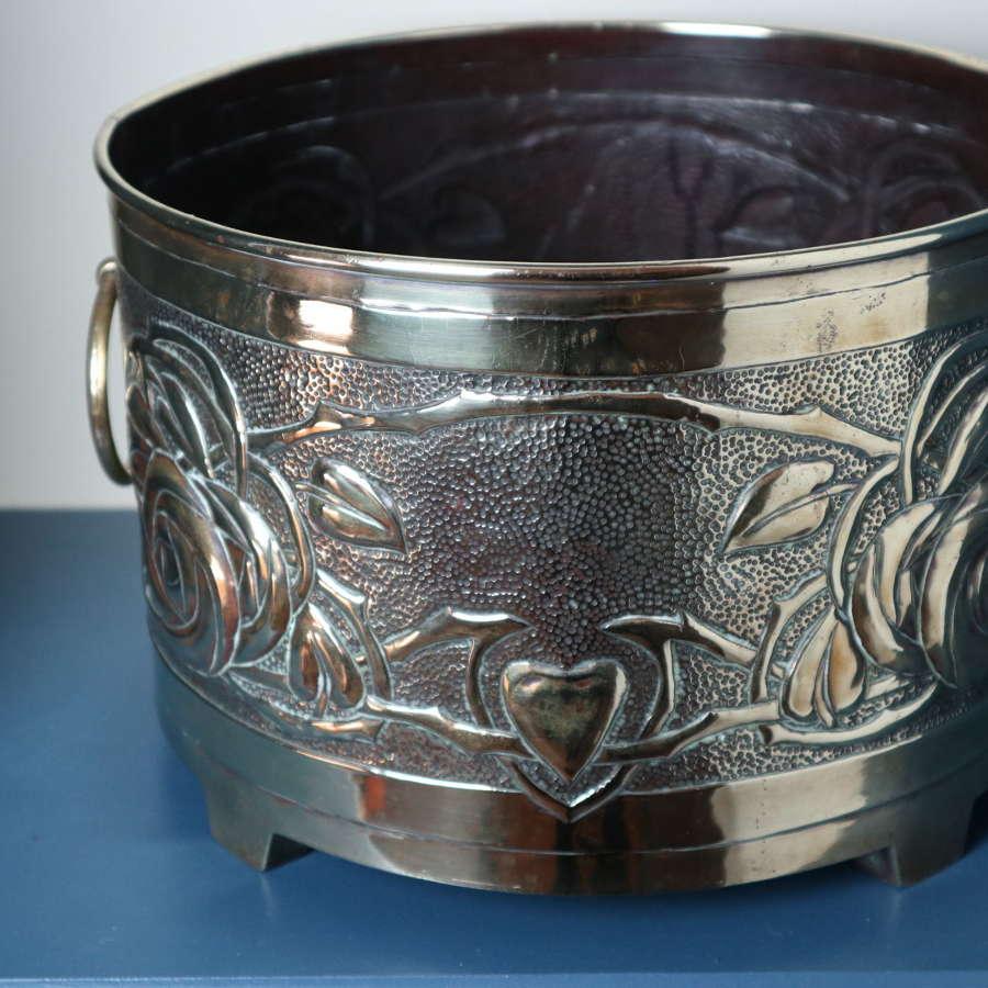 Arts & Crafts Scottish brass planter Marion Henderson Wilson c.1900.