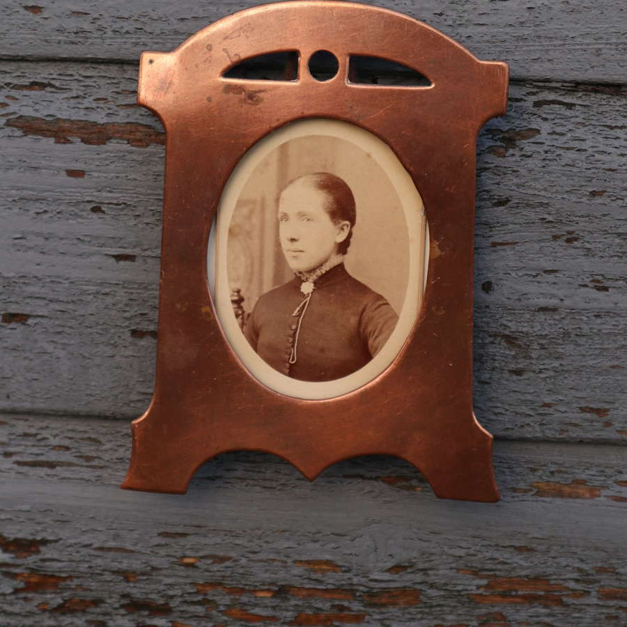 Arts & Crafts / Jugendstil Swedish koppar photograph frame, c.1880.