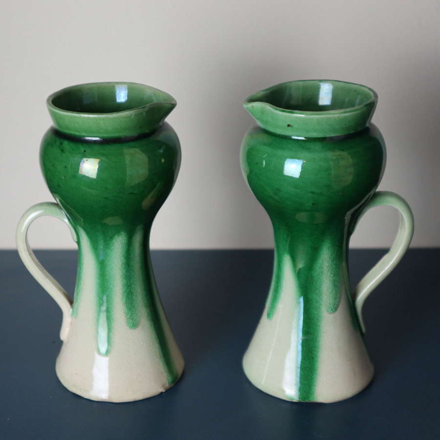 Arts & Crafts / Art Nouveau pair drip glaze pitcher / vases c.1900.