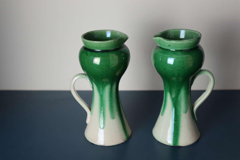 Arts & Crafts / Art Nouveau pair drip glaze pitcher / vases c.1900.