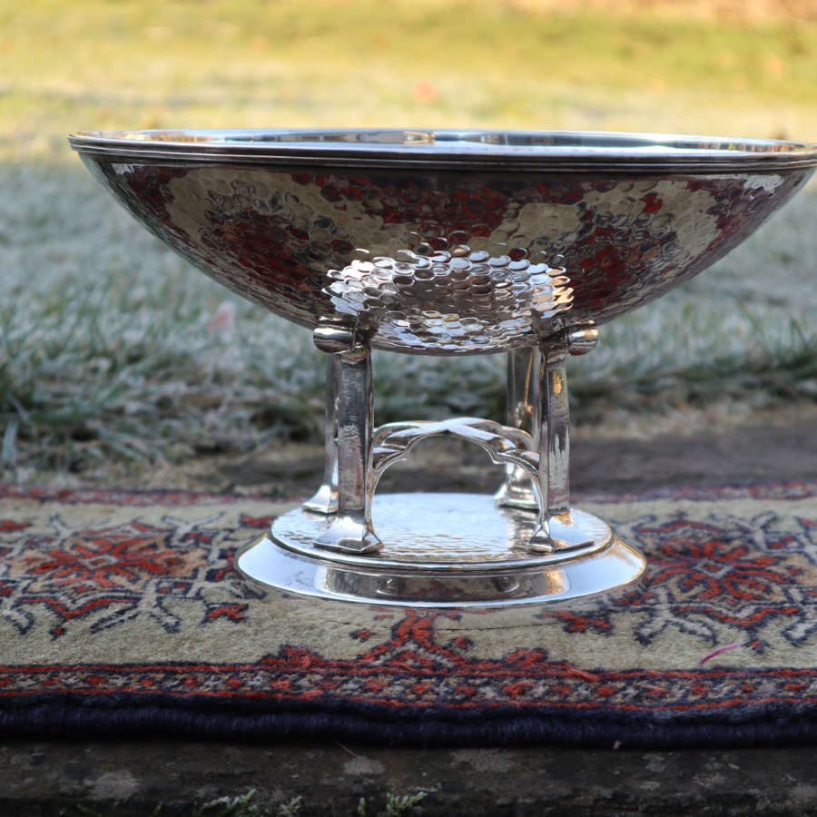Art Deco Scottish baptisimal font silver plated, hand beaten c.1933.