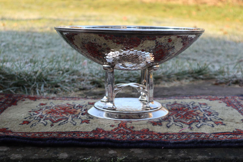 Art Deco Scottish baptisimal font silver plated, hand beaten c.1933.