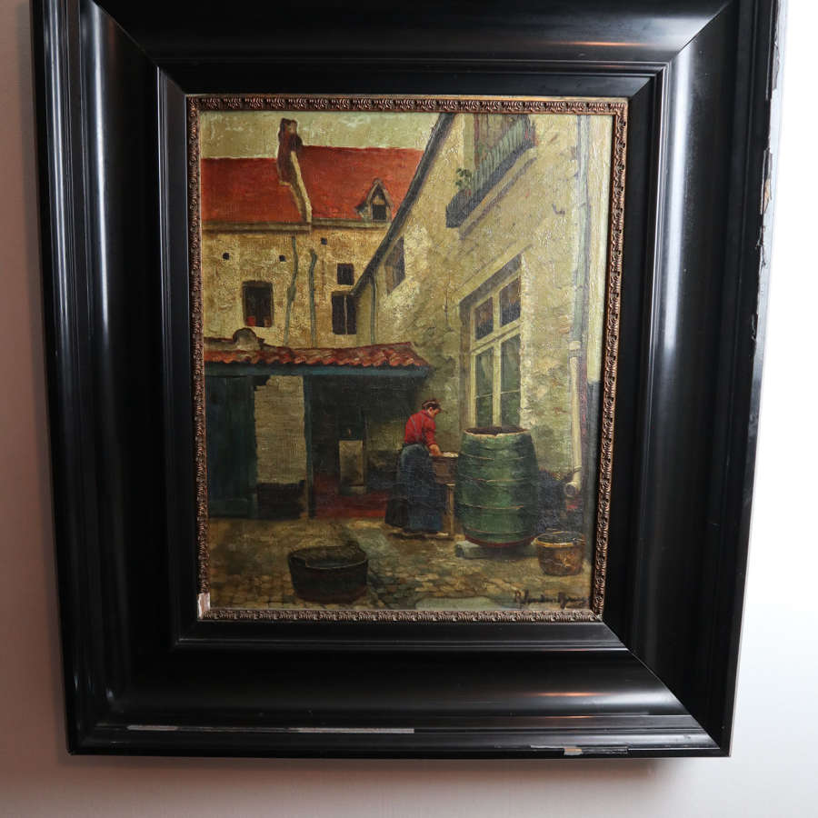 Victorian Flemish oil on canvas, Romain Van Den Brugge 'Wash  day'.