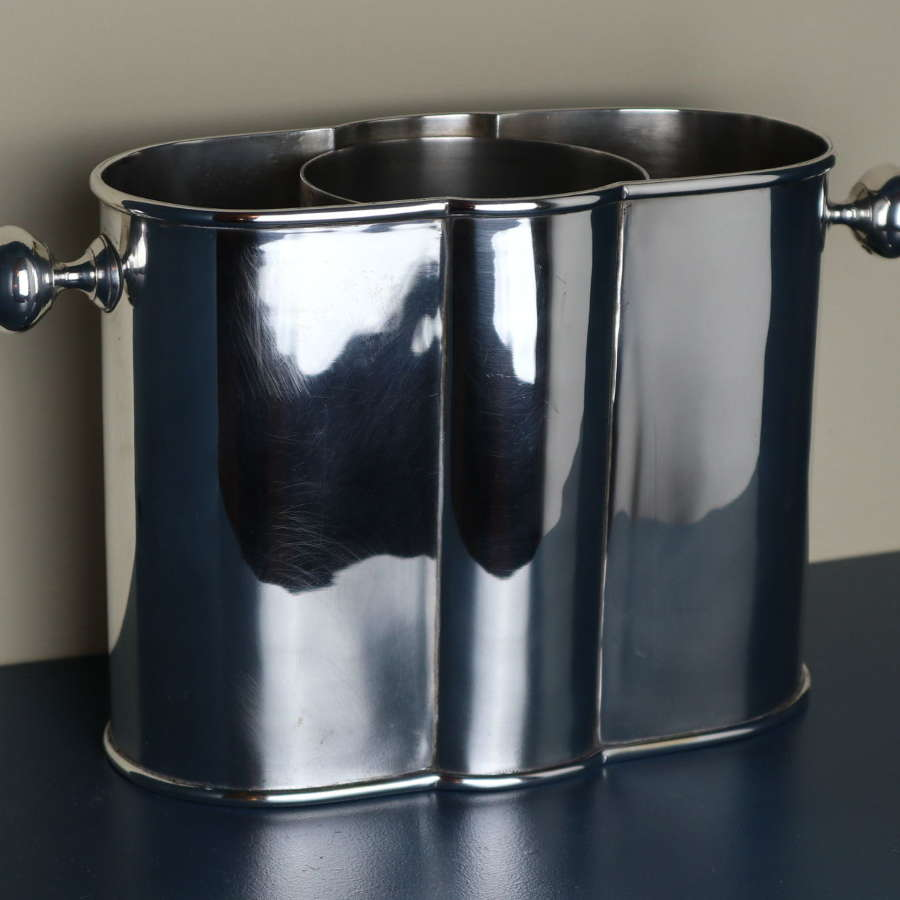 Art Deco English silver plated wine / champagne bottle cooler.
