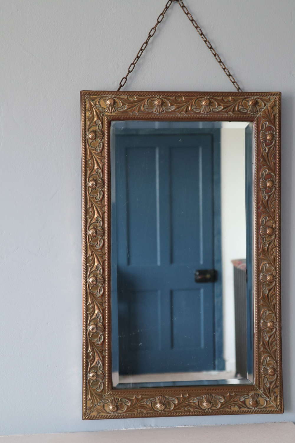 Arts & Crafts Style brass Scottish thistle wall mirror 1920s/1930s.