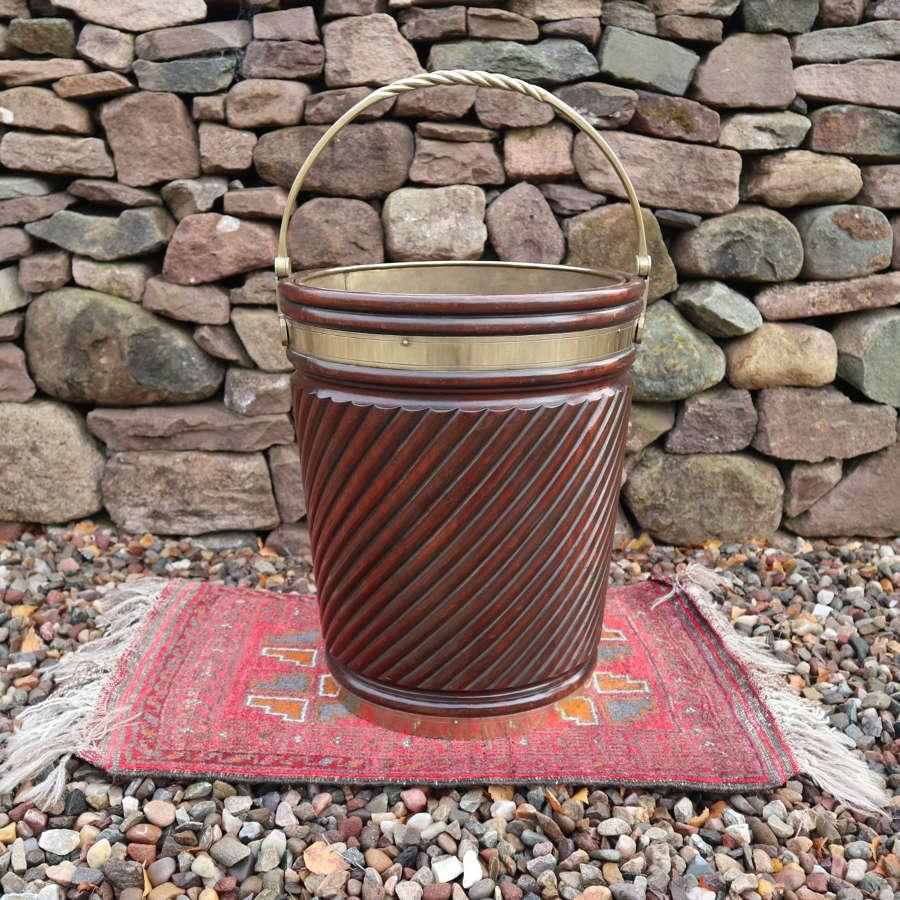 Irish peat /turf bucket, brass bound / turned mahogany c.1910