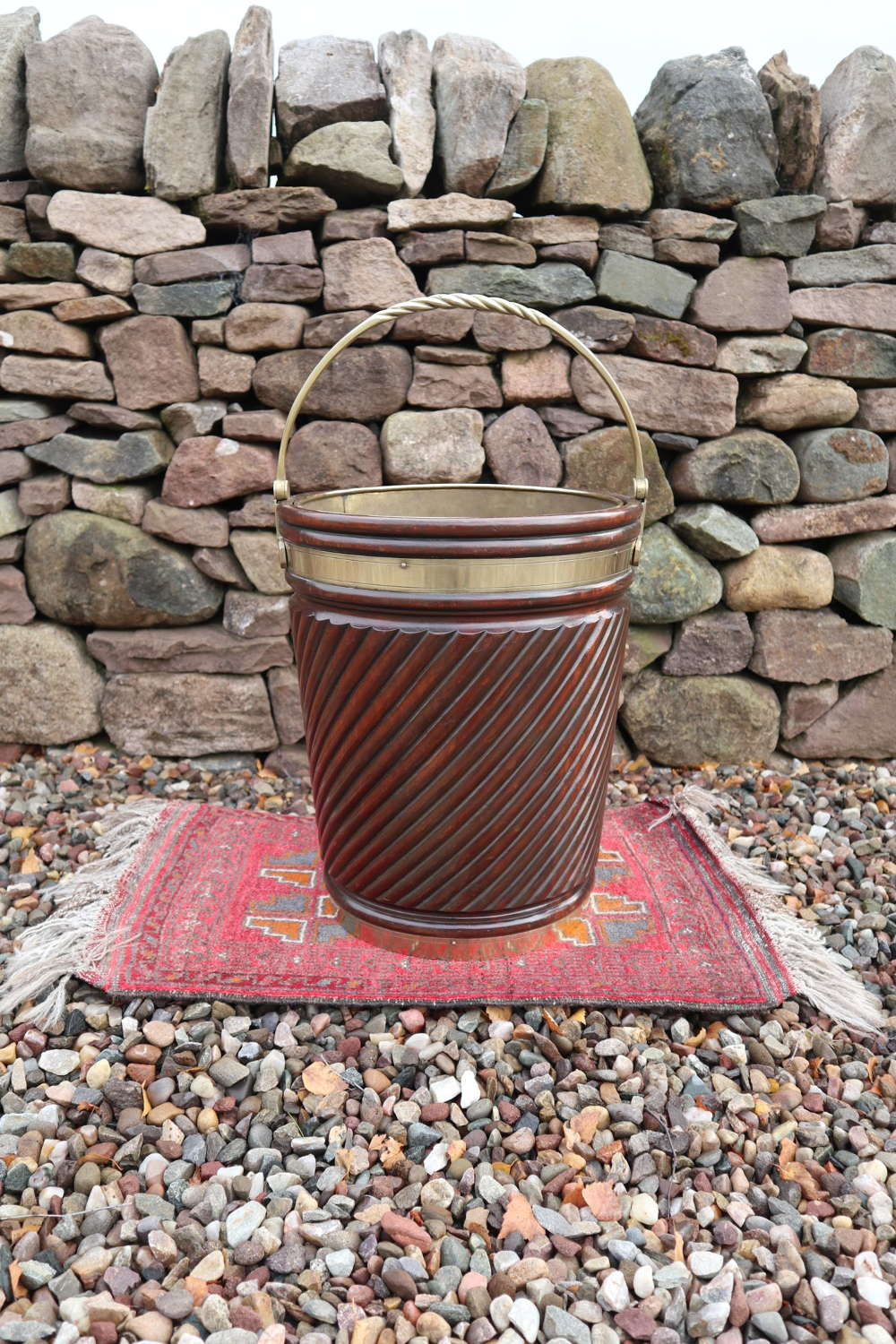 Irish peat /turf bucket, brass bound / turned mahogany c.1910