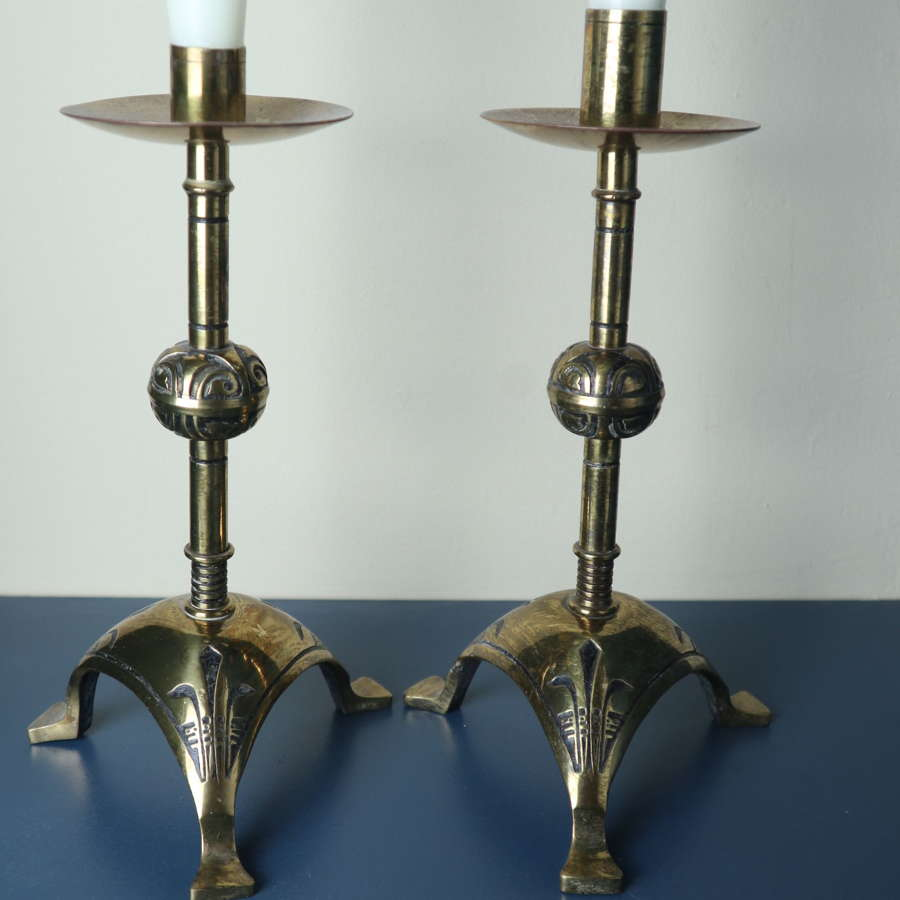 Pair of Hart, Son, Peard & Co, Gothic Revival Candlesticks c.1877