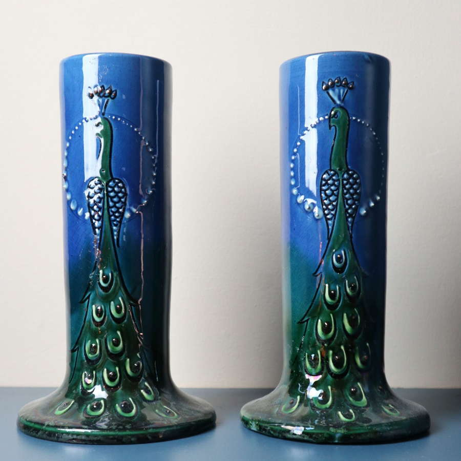 Arts & Crafts, peacock vases, C.H. Brannam, North Devon, c.1900.