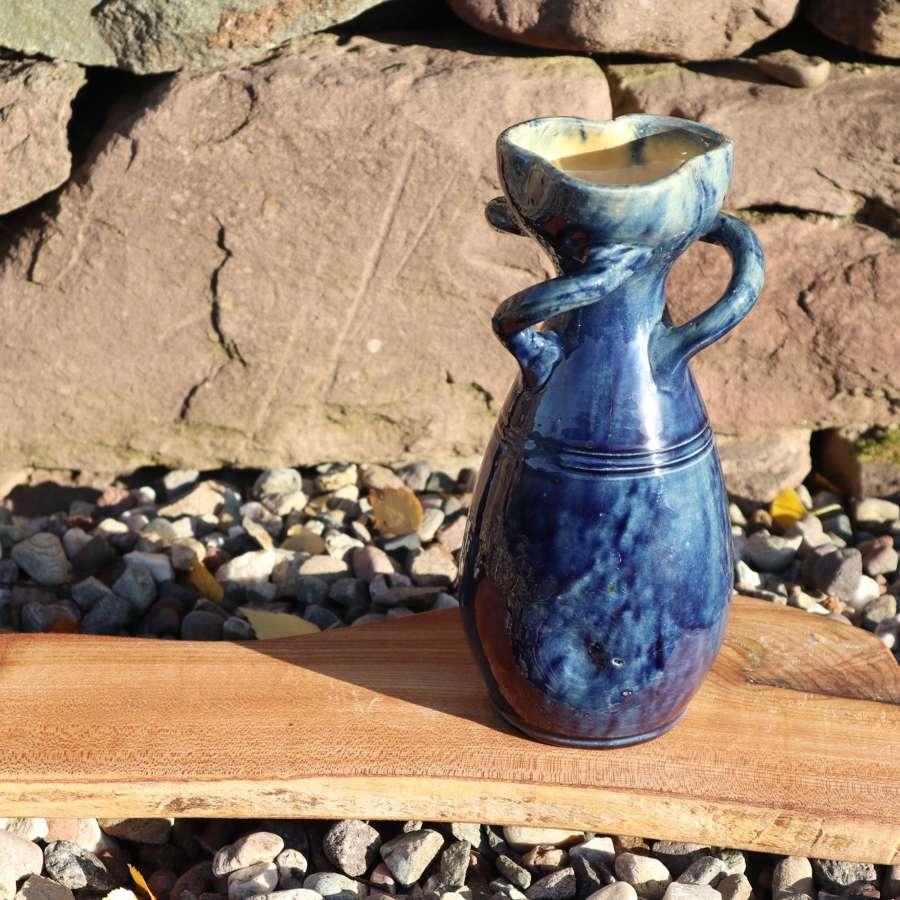 Art Nouveau, blue drip glaze Belgian art pottery c.1905.