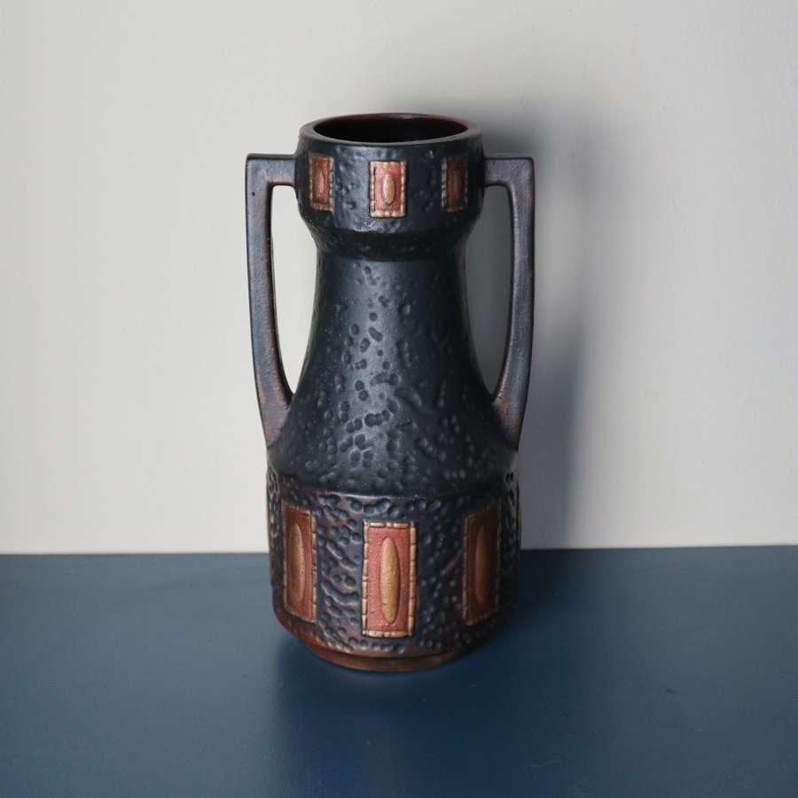 Art Nouveau 'Bretby' double handled 'Clanta' vase c.1914-1920.