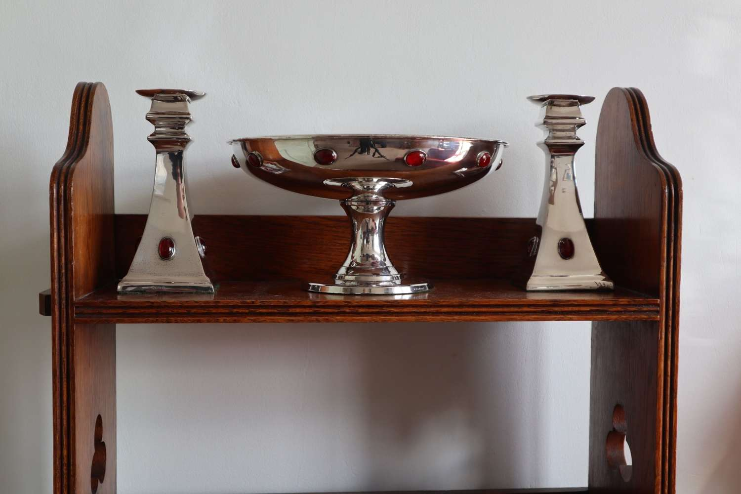 Arts & Crafts / Art Deco, silver plated compote & candlesticks c.1920.