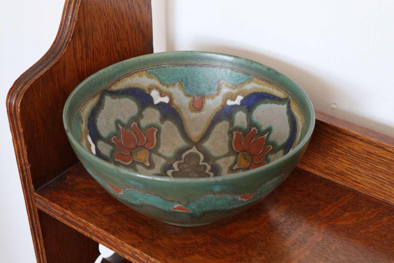 Art Nouveau into Art Deco floral Dutch Gouda art pottery bowl c.1921.