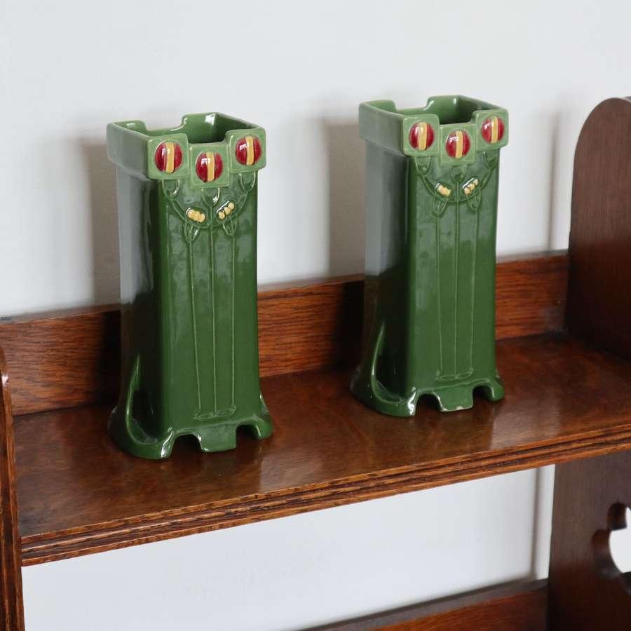 Art Nouveau / Secessionist pair of Eichwald majolica vases c.1905.