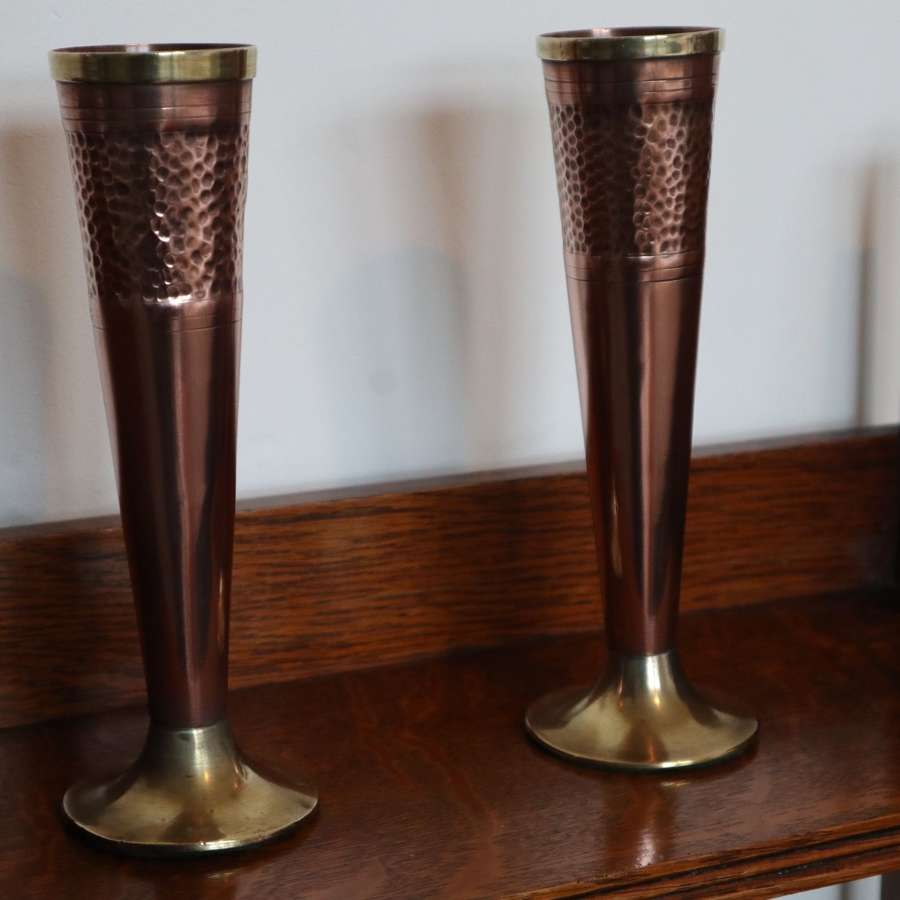 Arts & Crafts hand beaten copper & brass trumpet flower vases c.1905.