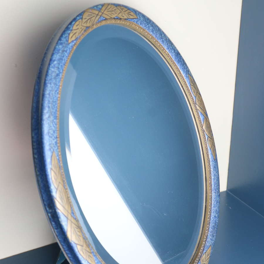 Art Deco dressing table mirror blue & gilded geometric design c.1935.