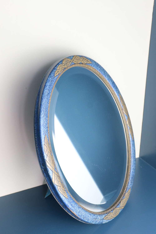 Art Deco dressing table mirror blue & gilded geometric design c.1935.