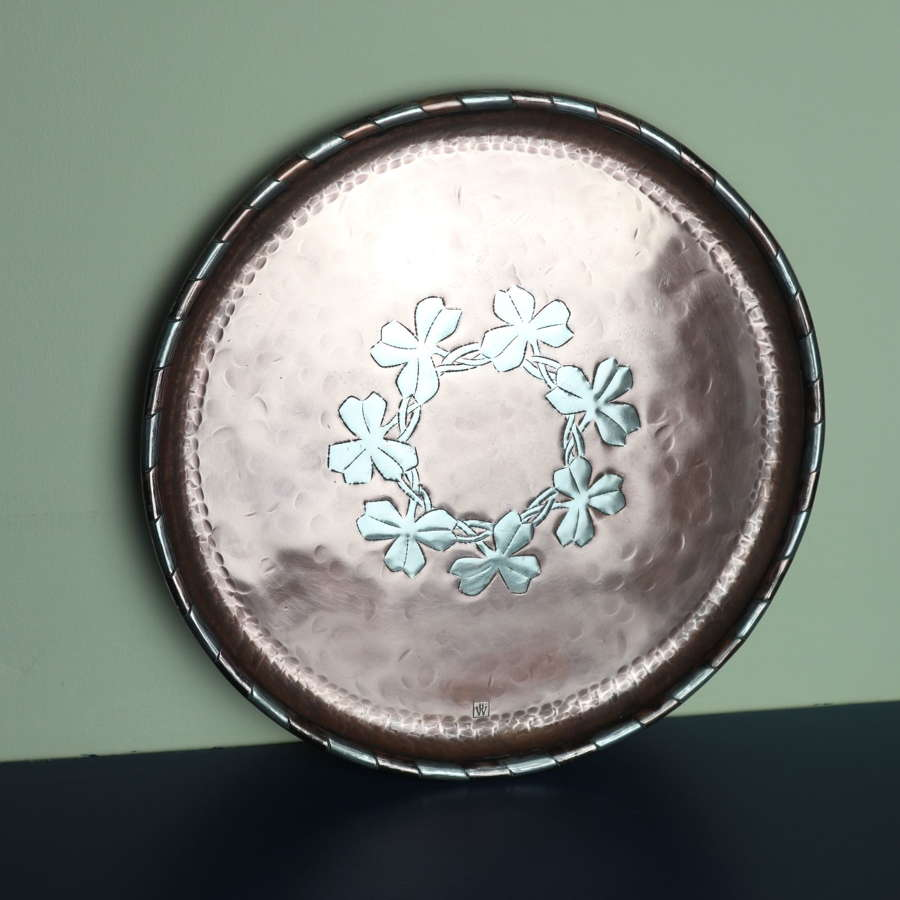 Arts & Crafts Hugh Wallis, copper & pewter inlay plate c.1910.