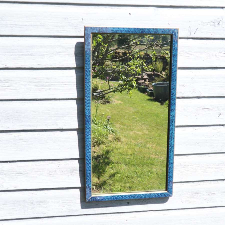 Art Deco French, blue & gold painted rectangular wall mirror c.1935
