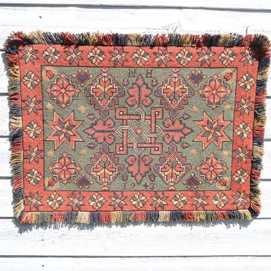 Scandinavian / Swedish 'Folk Art' hand woven 'Agedyna' cushion 1943.