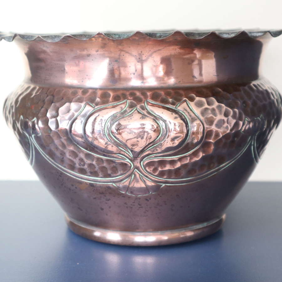 Arts & Crafts copper jardiniere J & F Pool, floral decoration c.1900