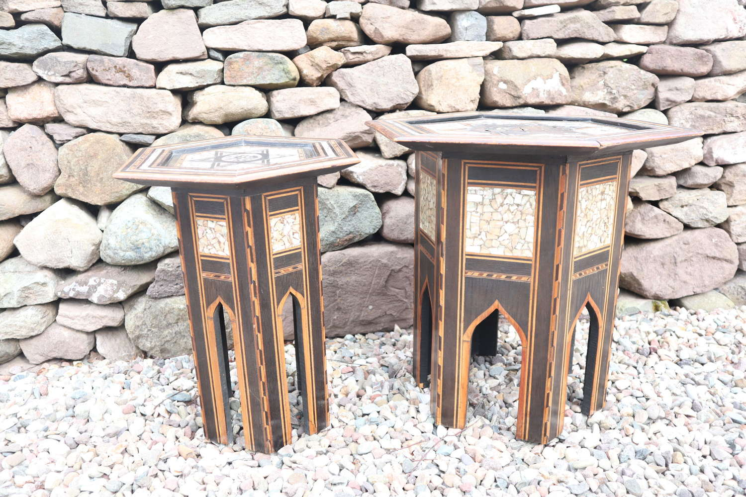 Pair of Ottoman occasional tables, octagonal, ebonised & inlay c.1900.