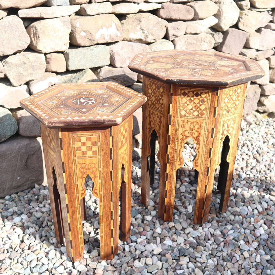 Pair of Ottoman occasional tables, octagonal, inlay & MoP c.1900
