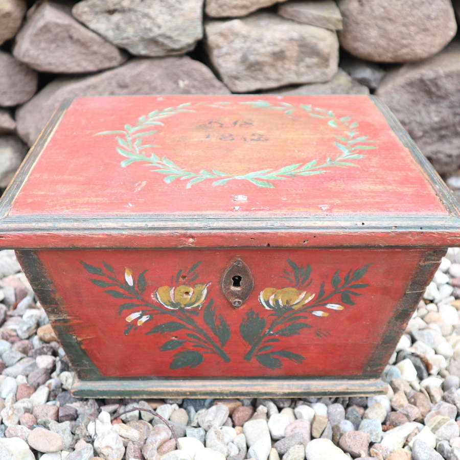 Scandinavian / Swedish Folk Art painted box Jämtland region 1812.